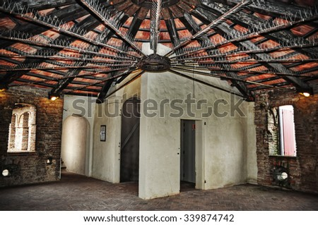 inside of an old roof in hdr tone mapping effect