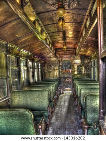 Inside of Antique Passenger Car - stock photo