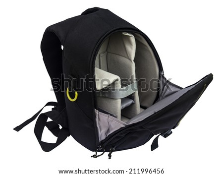 Inside of backpack camera bag isolate on white background - stock photo
