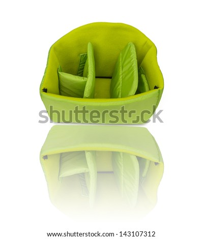 Inside of backpack camera bag isolated on white - stock photo