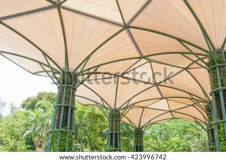 Inside Of Fabric Roof Structure Stadium With Plant In Metal Structure