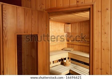 Inside of finnish  sauna - stock photo