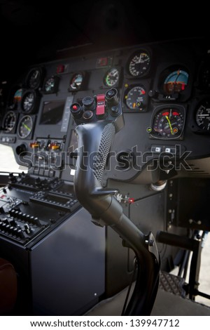 inside of helicopter cockpit - stock photo