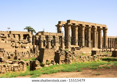 Inside of Luxor temple. Ancient egyptian culture. - stock photo