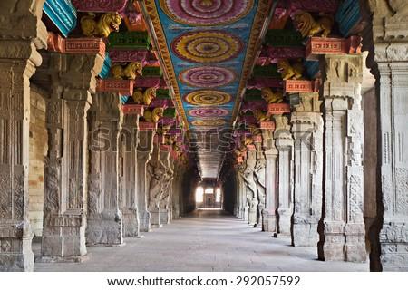 Inside of Meenakshi hindu temple in Madurai, Tamil Nadu, South India - stock photo