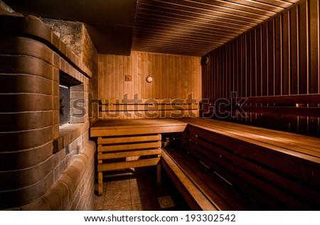 Inside of modern finnish sauna - stock photo