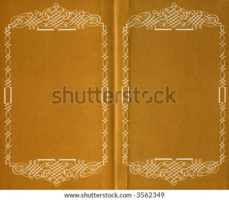 inside of old book with a artistic frame - stock photo