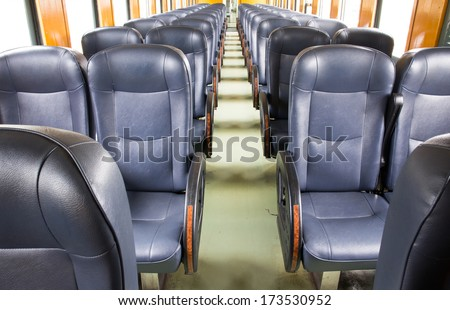 Inside of old train passenger carriage