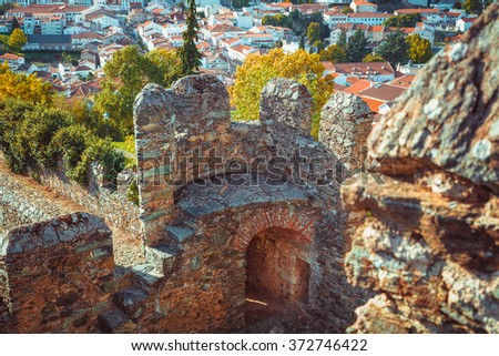 Inside of one of the turrets of the castle of Braganza. - stock photo