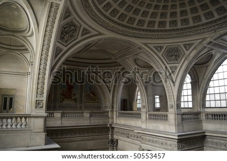 Inside of Pantheon in Paris - stock photo
