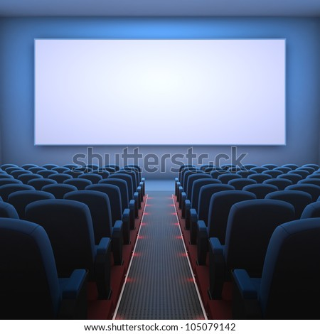 Inside of the cinema. Several empty seats waiting the movie on the screen. Your text or picture on the white screen. - stock photo