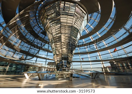 Inside of the Cupola of the Reichstag Building in Berlin, Germany - stock photo