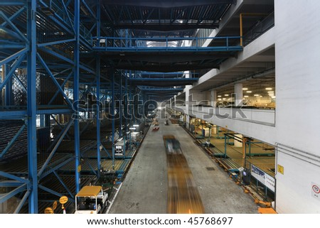 inside of warehouse in Hong Kong - stock photo