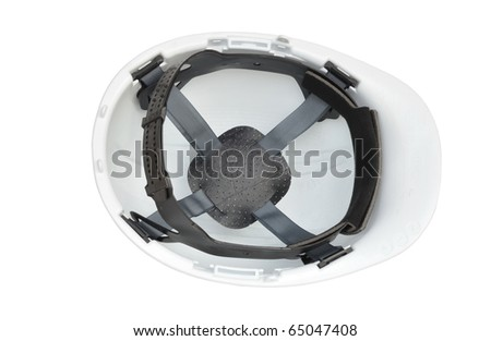 Inside of white hard hat - stock photo
