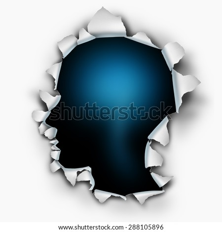 Inside of you human thinking concept as a paper burst hole with ripped torn edges shaped as a head on a white sheet that has been punctured open as a symbol for the mind and brain function. - stock photo