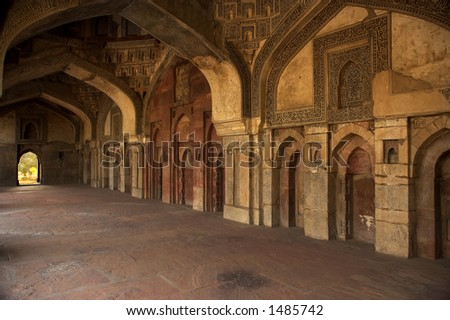 Inside old muslim palace in New Delhi - stock photo