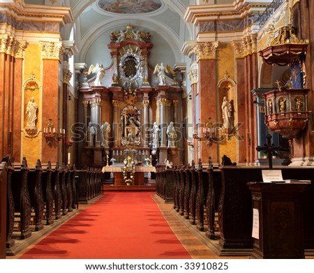 inside one of the baroque churches in budapest, hungary - stock photo