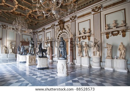 Inside one of the rooms of the Capitoline Museums in Rome, Italy  The museum was opened to the public at the wish of Pope Clement XII in 1734. - stock photo