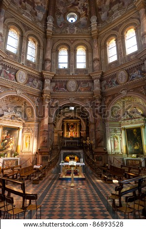 Inside Santa Maria della Croce church in Crema, Italy - stock photo