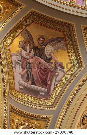 Inside St. Stephen Basilica in Budapest - stock photo