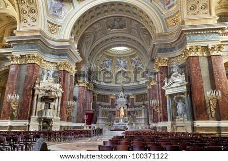 Inside St. Stephen's Basilica in Budapest, Hungary - stock photo