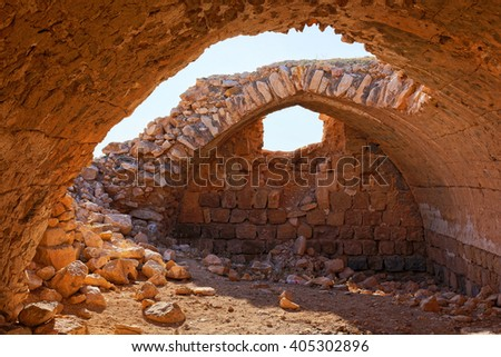 Inside the abandoned building at Judean desert in Israel - stock photo