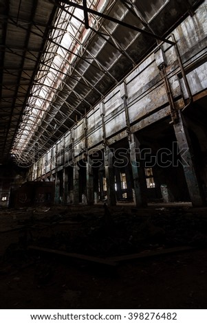 Inside the abandoned power plant. Low light image specially made for feeling abandonment.