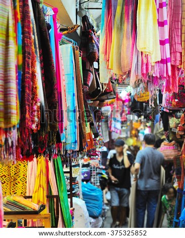 Inside the Chatuchak weekend market in Bangkok, Thailand. It is the largest market in Thailand.  - stock photo