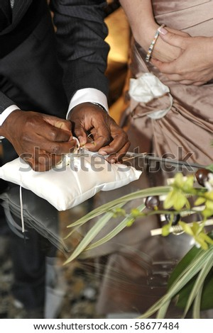 Inside the church setting and marriage - stock photo