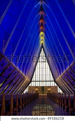 Inside the Colorado Springs Air Force Base chapel