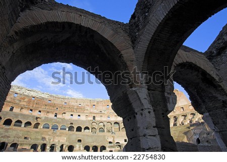 Inside The Colosseum, Rome, Italy - stock photo