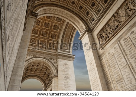 Inside the Detail of the Arc de Triomphe in Paris, France - stock photo