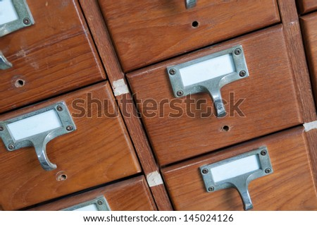 Inside the drawer has a secret collection. - stock photo