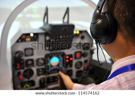 Inside the flight deck during take-off. - stock photo