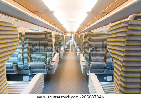 inside the high speed train compartment  - stock photo