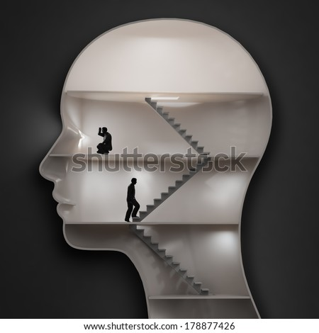 Inside the human brain - cognition concept - stock photo