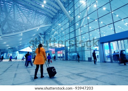 inside the international airport in China - stock photo