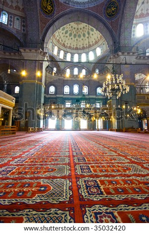Inside the islamic mosque in Istanbul, Turkey