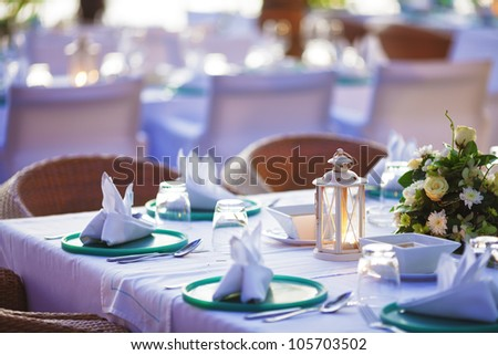 Inside the luxury outdoor restaurant. Shallow depth of field. - stock photo