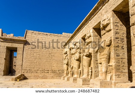 Inside the Mortuary Temple of Ramses III near Luxor - Egypt - stock photo