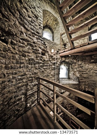 Inside the old ghostly fortress tower