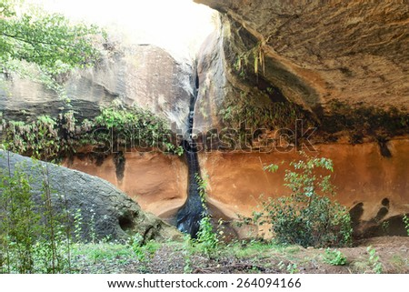 Inside the open cave. Shot in Liphofung Cave, Lesotho.
