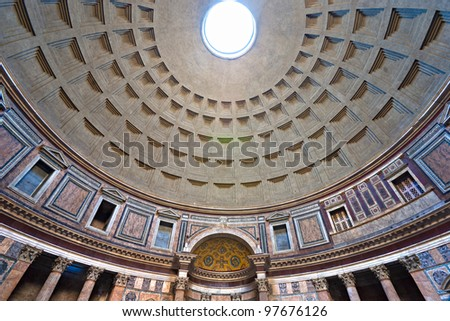 Inside the Pantheon, Rome, Italy. - stock photo