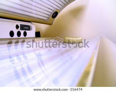 Inside the tanning bed. - stock photo