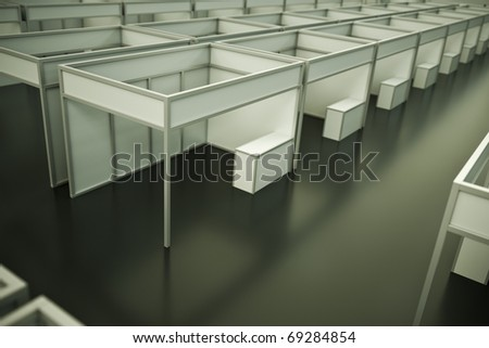 Inside the trade show pavilion. 3D render. - stock photo