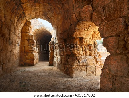 Inside the tunnel for spectators in an antique amphitheater in Israel