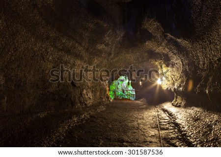 Inside the tunnel of Thurston Lava Tube in Hawaii Volcanoes National Park - stock photo