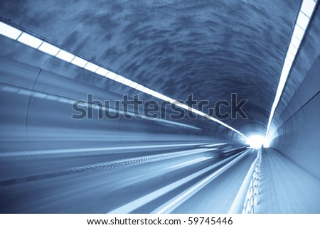 inside the tunnel with motion blur