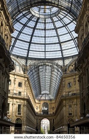 Inside the Vittorio Emanuele Gallery - Duomo's Square Milan,Italy - stock photo