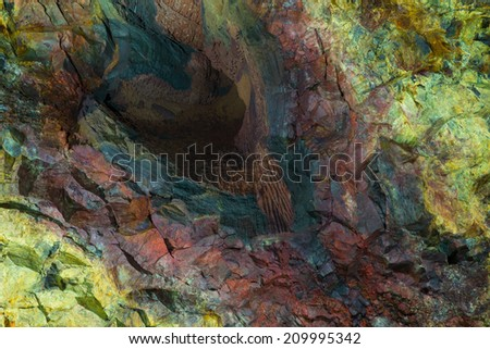 Inside the Volcano - Thrihnukagigur Magma Chamber. Iceland. - stock photo